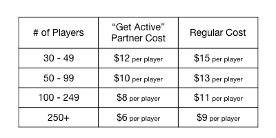 LEAGUE PARTNER PLAYERS CLINIC PRICING