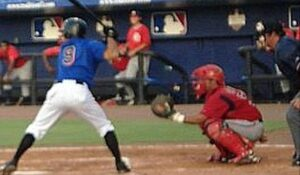 J.J Newman playing baseball